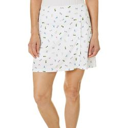 Dink Up Womens Piqued Ditsy Pickleball Print Pull On Skort