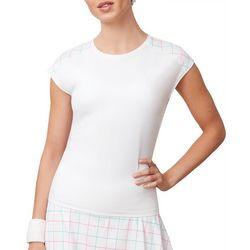 Fila Womens Windowpane Cap Sleeve Active T-Shirt