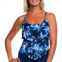 Maxine Womens In The Navy Leaf Print Tiered Tankini Top