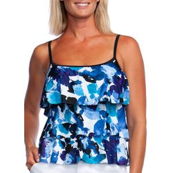 Maxine Womens Watercolor Flowers Triple Tier Tankini Top