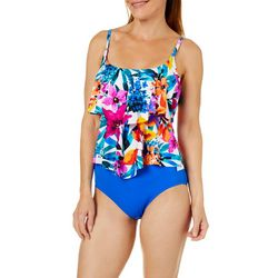 Maxine Womens Key West Floral Tiered Tankini Top