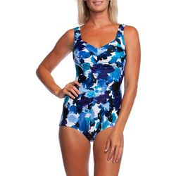 Maxine Womens Waterflower Girl Leg One Piece Swimsuit