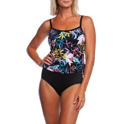 Maxine Womens Gardenia Faux Tankini Swimsuit