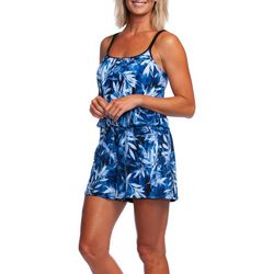 Maxine Womens In The Navy Leaf Print Swim Romper
