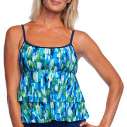 Maxine Womens Funfetti Tiered Tankini Top