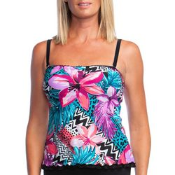 Maxine Womens Serengeti Mixed Print Ruffle Trim Tankini Top
