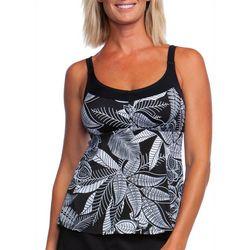 Maxine Womens Leaf Linework Print Tankini Top