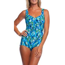 Maxine Womens Funfetti Girl Leg One Piece Swimsuit