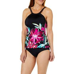 Maxine Womens In Full Bloom High Neck Tankini Top