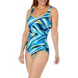 Maxine Womens Galaxy Side Shirred One Piece Swimsuit