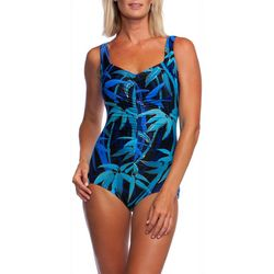 Maxine Womens Bamboo Print Girl Leg One Piece Swimsuit