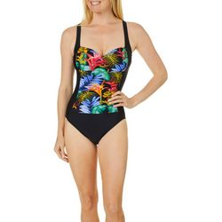 Maxine Womens Jungle Glow Colorblocked MIO Swimsuit