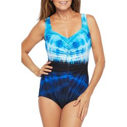 Maxine Womens Tie Dye Girl Leg One Piece Swimsuit