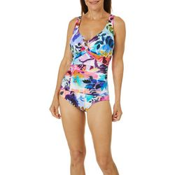 Maxine Womens Garden Party Ruched One Piece Swimsuit