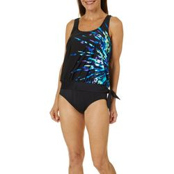 Maxine Of Hollywood Womens Spring Nova Blouson Tankini Top