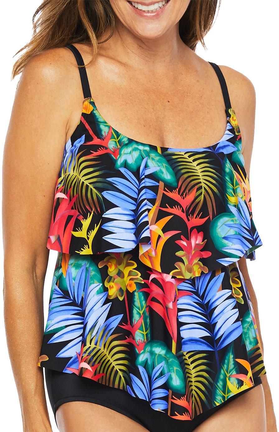 All Sizes New Trimshaper Women/'s Multicolor Electric Avenue Tankini Top