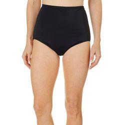 Maxine Womens Solid High Waist Hipster Swim Bottoms
