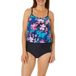 Maxine Womens April Showers Blouson Faux Tankini Swimsuit
