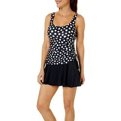 Maxine Of Hollywood Womens Dots Colorblocked Swimdress