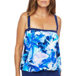 Maxine Womens Painted Floral Blouson Tankini Top