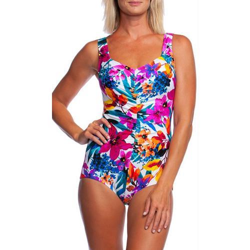 6f268553528 Maxine Womens Key West Shirred Mio One Piece Swimsuit
