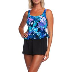 Maxine Womens Secret Garden Faux Tankini Swimdress