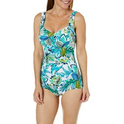 Maxine Womens Nola Shirred Girl Leg One Piece Swimsuit