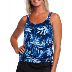 Maxine Womens In The Navy Leaf Print Blouson Tankini Top