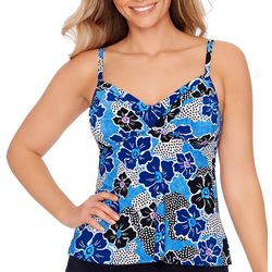 American Beach Womens Floral V-Neck Tankini Top