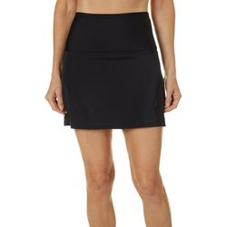 American Beach Womens Solid High Waisted Swim Skirt