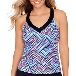 American Beach Womens Geometric Ring Back Tankini Top