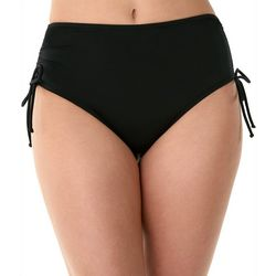 American Beach Womens Solid Ruched Swim Briefs