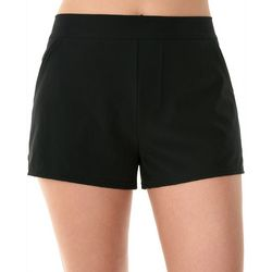 American Beach Womens Solid Woven Swim Shorts