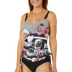 Gloria Vanderbilt Womens Ebony Rose Tankini Top