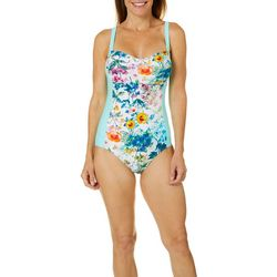 Gloria Vanderbilt Womens Floral One Piece Swimsuit