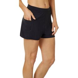 Caribbean Joe Womens Side Zipper Pocket Swim Shorts