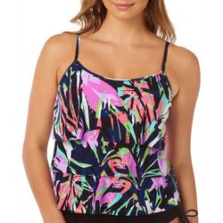 Caribbean Joe Womens Abstract Leaf Triple Tier Tankini Top