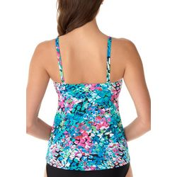 Caribbean Joe Womens Colorful Snake High Neck Tankini Top
