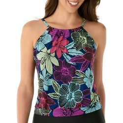 Caribbean Joe Womens Tropical Floral High Neck Tankini Top