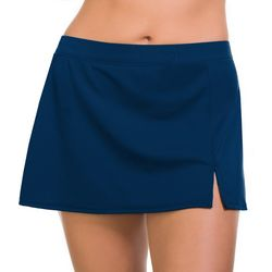 Caribbean Joe Womens Solid Slit Swim Skirt