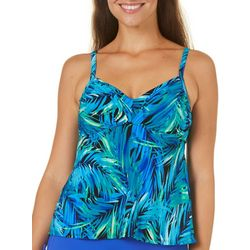Caribbean Joe Womens Breezy Palm Tankini Top