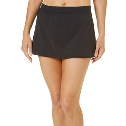Caribbean Joe Womens Solid Shaping Swim Skirt