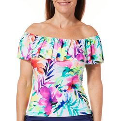 Caribbean Joe Womens Tropical Floral Ruffle Tankini Top