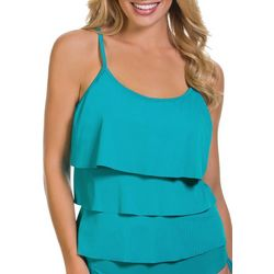 Caribbean Joe Womens Triple Tier Tankini Top