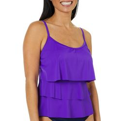Caribbean Joe Womens Solid Triple Tiered Tankini Top