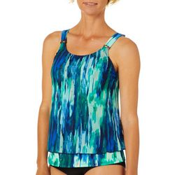 St. Tropez Womens Mesh Abstract Print Tankini Top