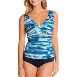 Paradise Bay Womens Stripe Print Mio One Piece Swimsuit