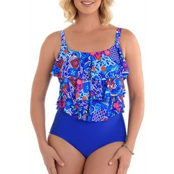 Paradise Bay Womens Mixed Floral Mio Faux Tankini Swimsuit