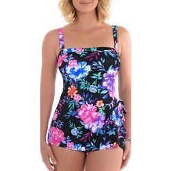 Paradise Bay Womens Floral Sarong Mio One Piece Swimsuit