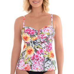 Paradise Bay Womens Floral Print Empire Tankini Top